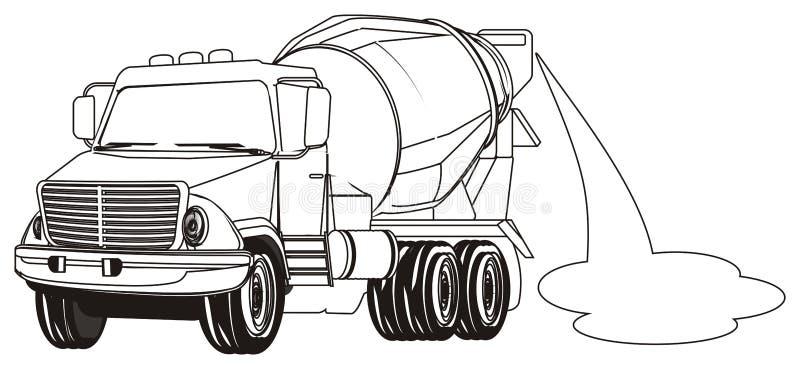 Caminhão colorindo com cimento ilustração stock