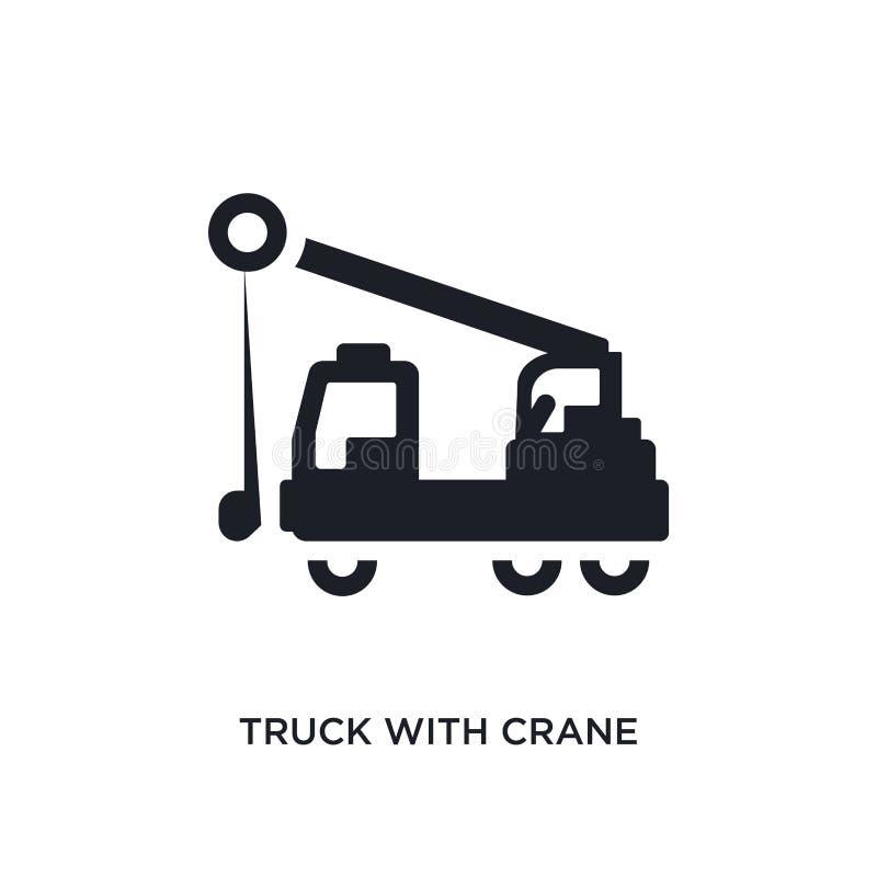 caminhão com ícone isolado guindaste ilustração simples do elemento dos ícones do conceito da construção caminhão com sinal editá fotografia de stock royalty free