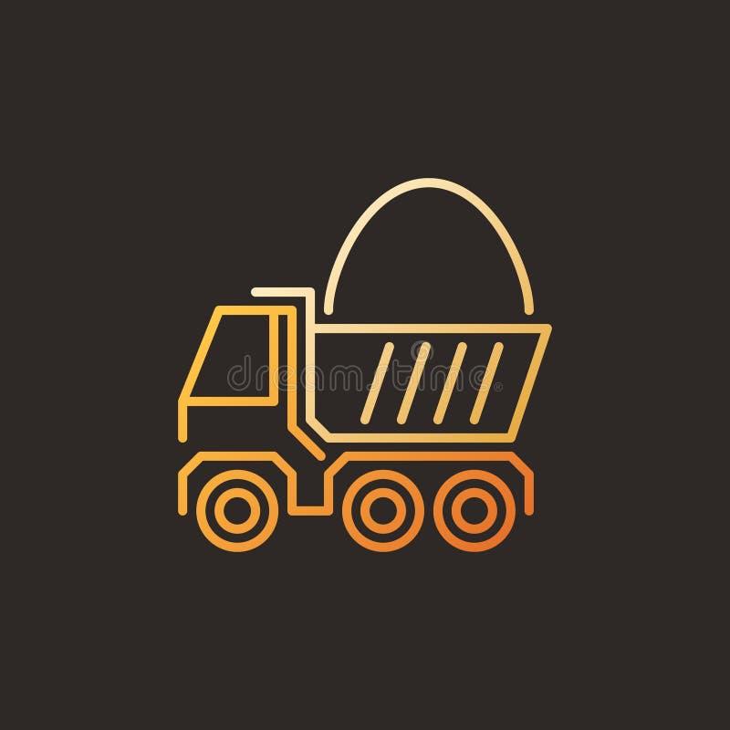 Caminhão com ícone ou sinal linear colorido moderno do vetor da areia ilustração stock