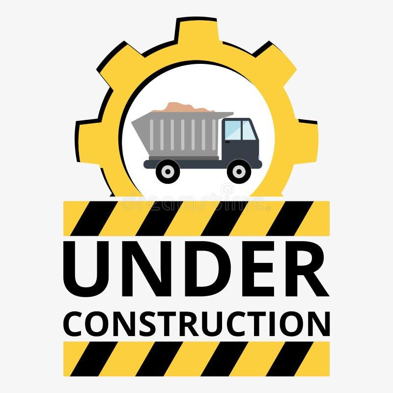 Caminhão com a areia sob o sinal da construção ilustração royalty free