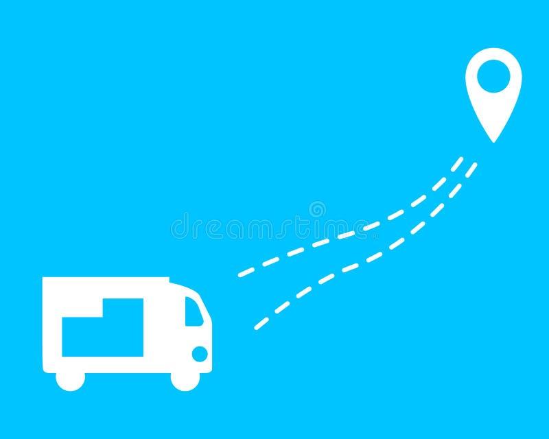 Caminhão com emissão Um carro com uma linha pontilhada e um geolocation Projeto liso ilustração do vetor