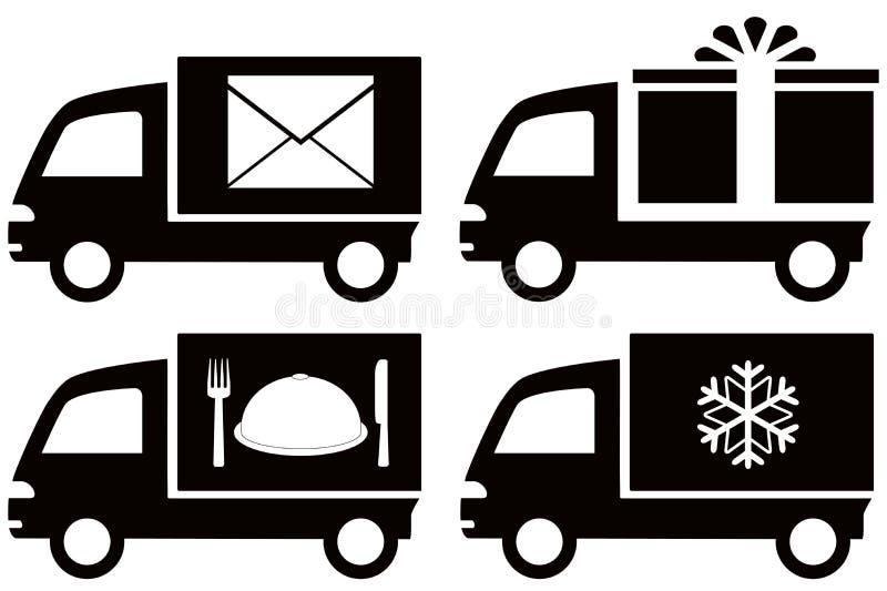 Caminhão com floco de neve, envelope, prato do alimento, presente BO ilustração stock