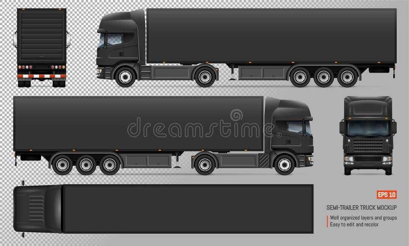 Caminhão com o modelo do vetor do reboque ilustração do vetor