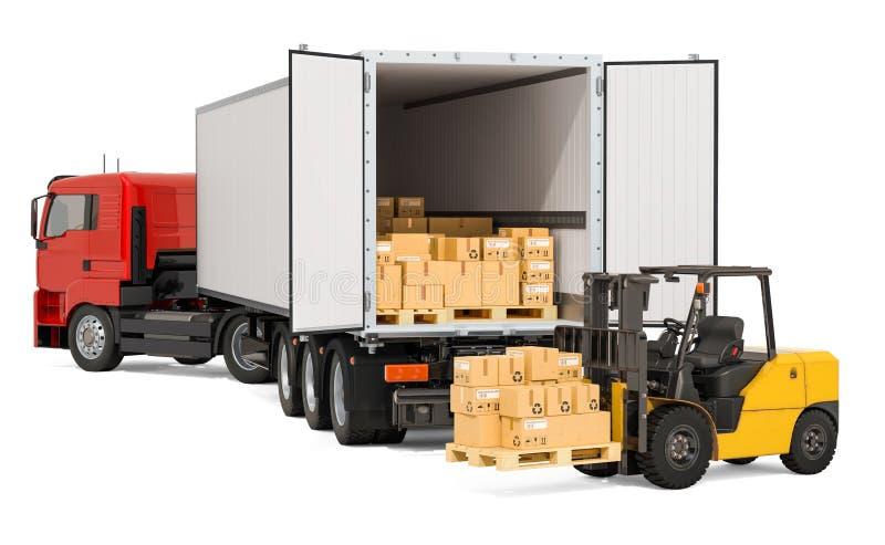 Caminhão com pacotes e caminhão de empilhadeira com caixas de cartão Transporte o transporte, conceito da entrega, rendição 3D ilustração do vetor