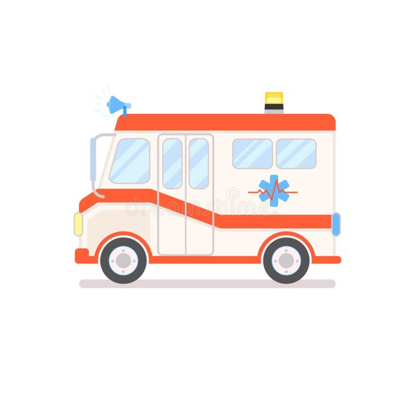 Caminhão da ambulância dos desenhos animados isolado no fundo branco Ilustração bonito do vetor do carro da emergência no estilo  ilustração royalty free