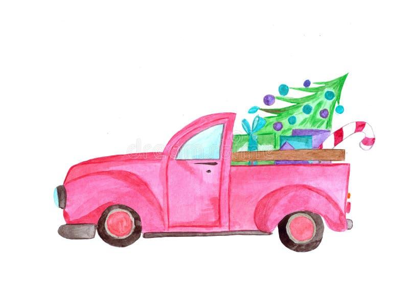 Caminhão da aquarela com árvore e presentes imagem de stock