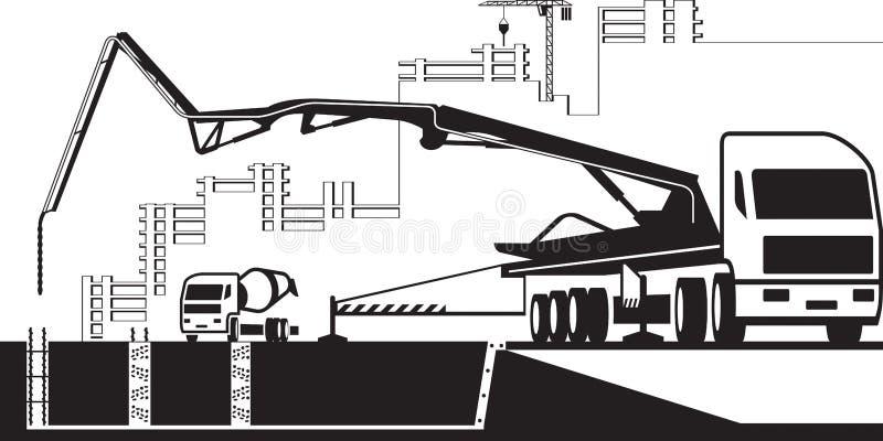 Caminhão da bomba concreta que trabalha na construção ilustração stock