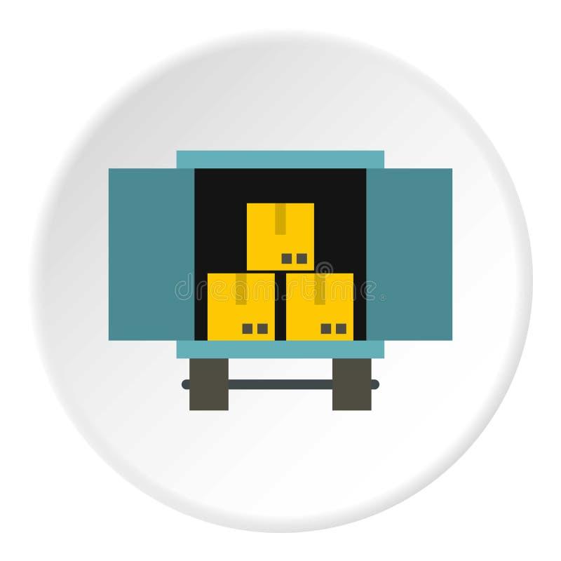 Caminhão da carga com ícone da carga, estilo liso ilustração royalty free