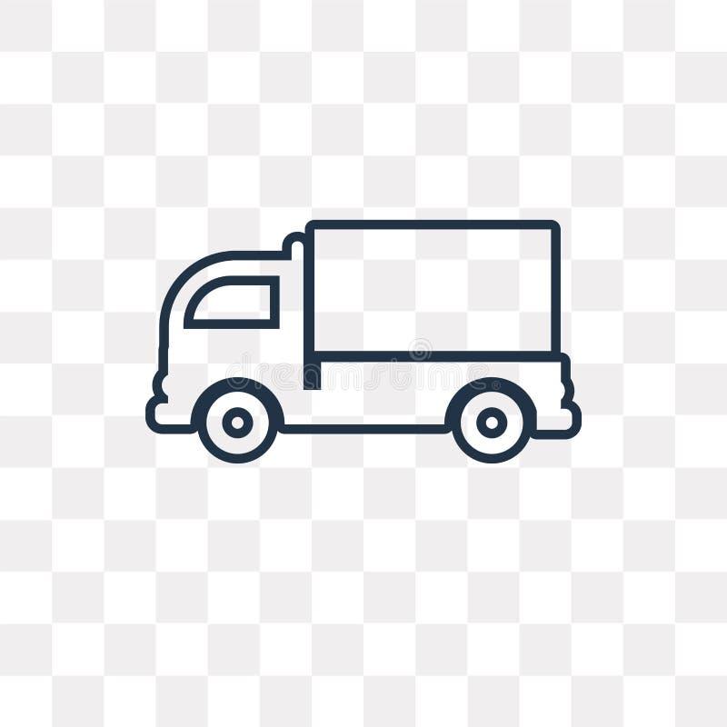 Caminhão da carga que enfrenta o ícone esquerdo do vetor isolado na parte traseira transparente ilustração royalty free