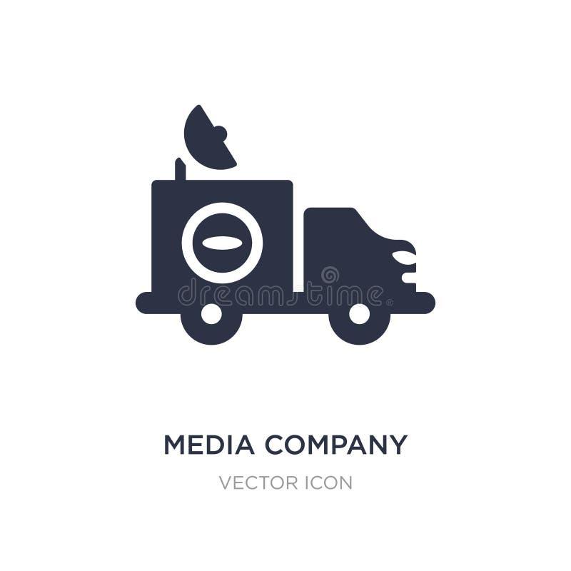 caminhão da empresa dos meios com ícone satélite no fundo branco Ilustração simples do elemento do conceito do transporte ilustração royalty free