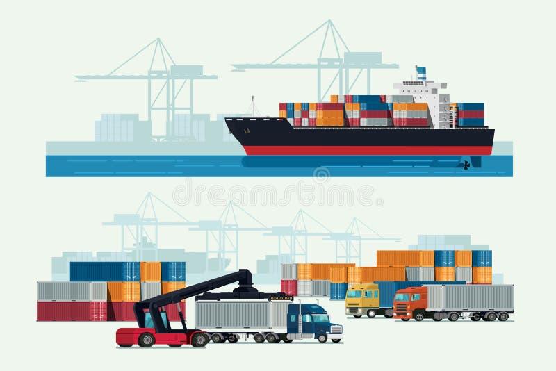 Caminhão da logística da carga e navio de recipiente do transporte com wor ilustração do vetor