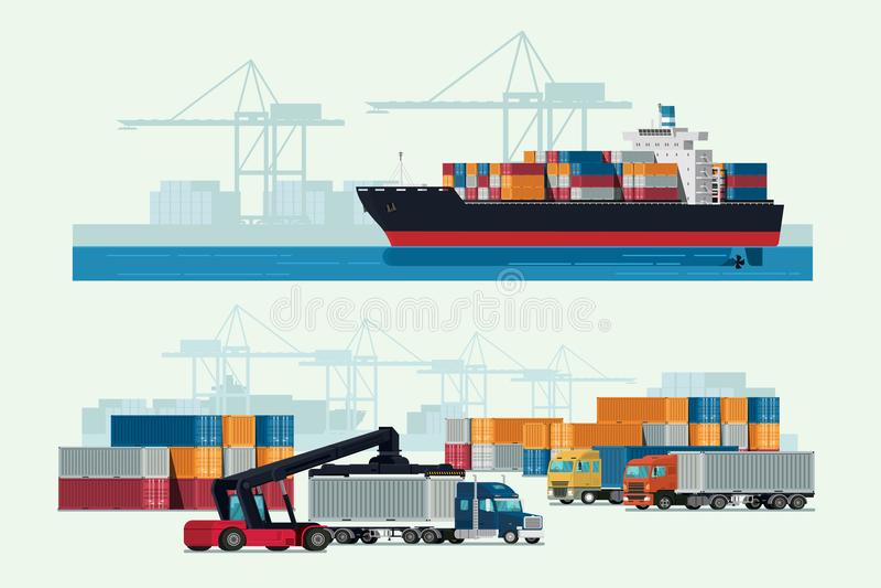 Caminhão da logística da carga e navio de recipiente do transporte com wor ilustração royalty free