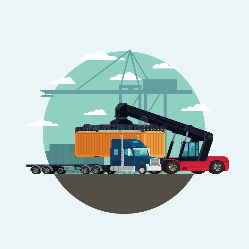 Caminhão da logística da carga e recipiente do transporte com trabalho ilustração stock