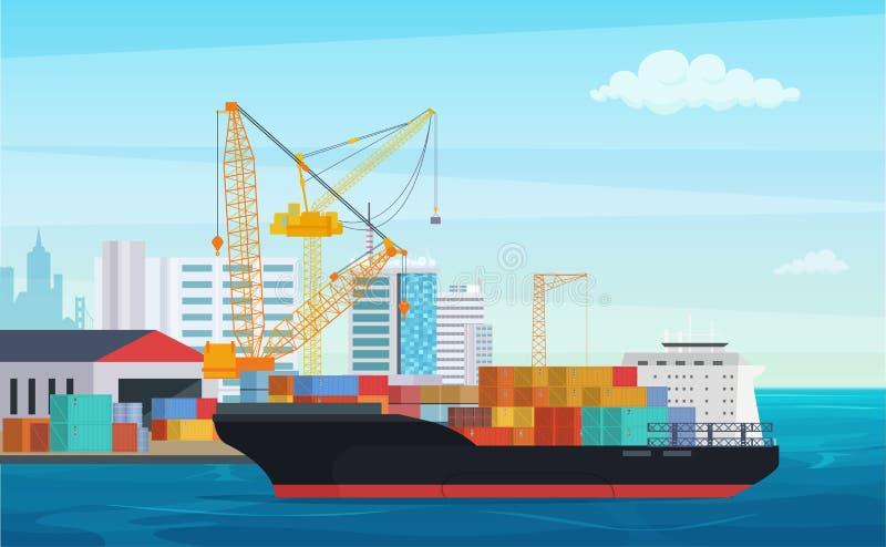 Caminhão da logística e navio de recipiente do transporte Porto do porto da carga com guindastes industriais Vetor de envio da ja ilustração royalty free