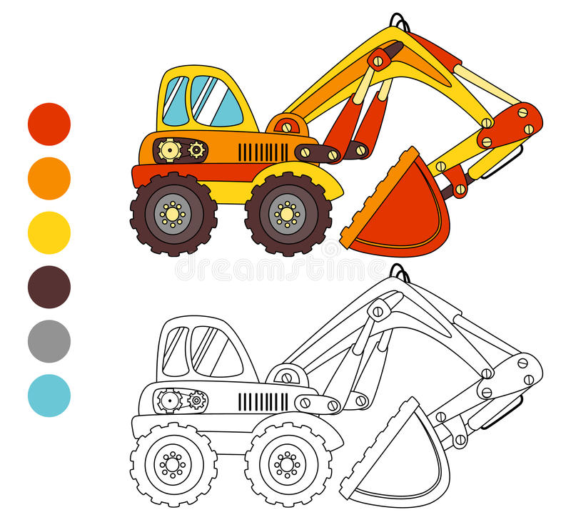 Caminhão da máquina escavadora do livro para colorir, disposição das crianças para o jogo ilustração royalty free