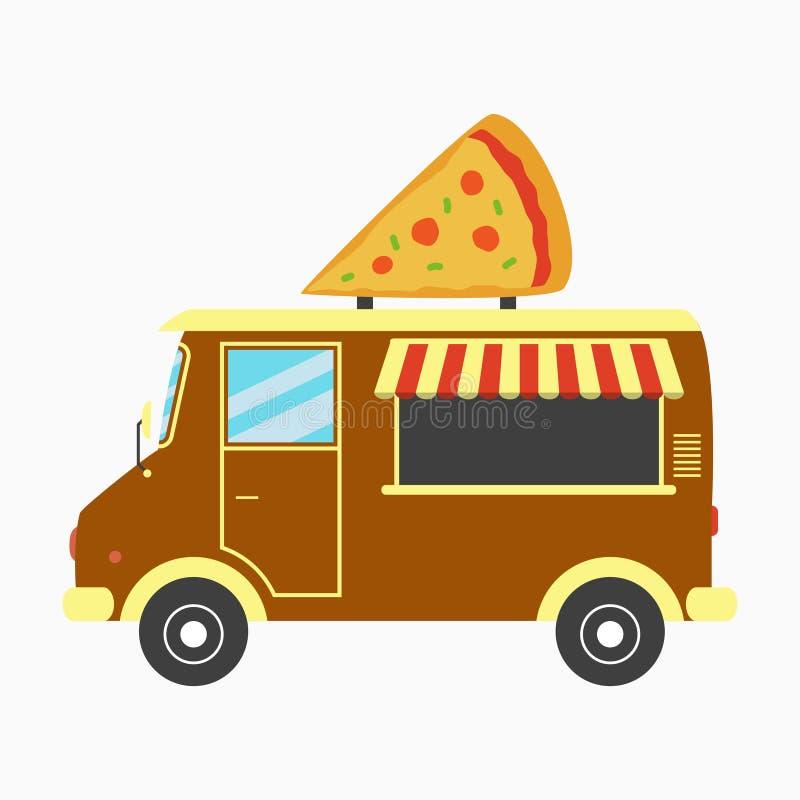 Caminhão da pizza Camionete rápida da pizaria com o quadro indicador no formulário da fatia da pizza Ilustração do vetor ilustração royalty free