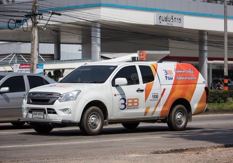 Caminhão de coleta da empresa Triple T Broadband fotografia de stock royalty free