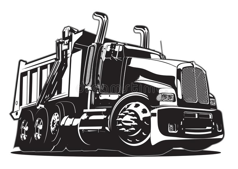 Caminhão de descarga dos desenhos animados isolado no branco ilustração stock