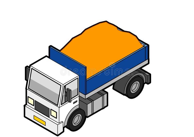 Caminhão de descarregador isométrico carregado ilustração royalty free