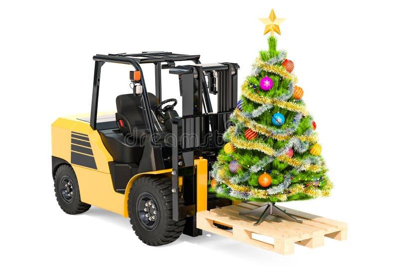 Caminhão de empilhadeira com árvore de Natal Conceito da entrega do presente, 3D com referência a ilustração do vetor