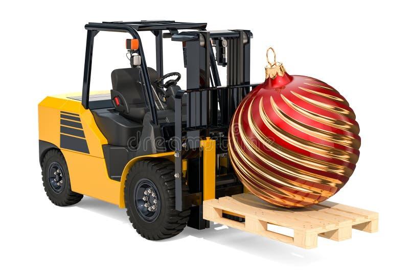 Caminhão de empilhadeira com bola do Natal, deliv do ano novo e do Natal ilustração stock