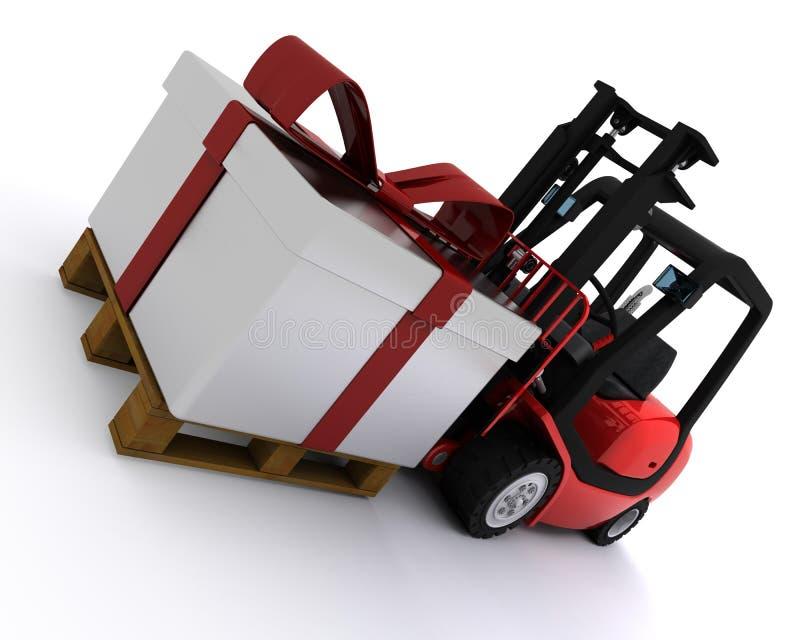 Caminhão de empilhadeira com caixa de presente do Natal ilustração royalty free