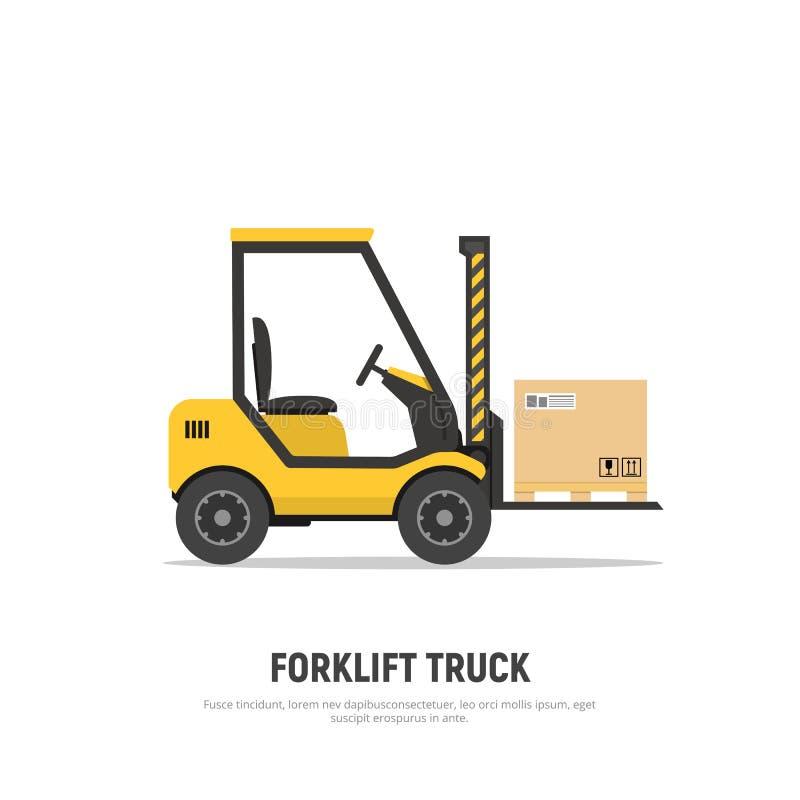 Caminhão de empilhadeira isolado com as caixas na pálete no fundo branco transporte Armazém de distribuição Empilhadeira do ícone ilustração stock
