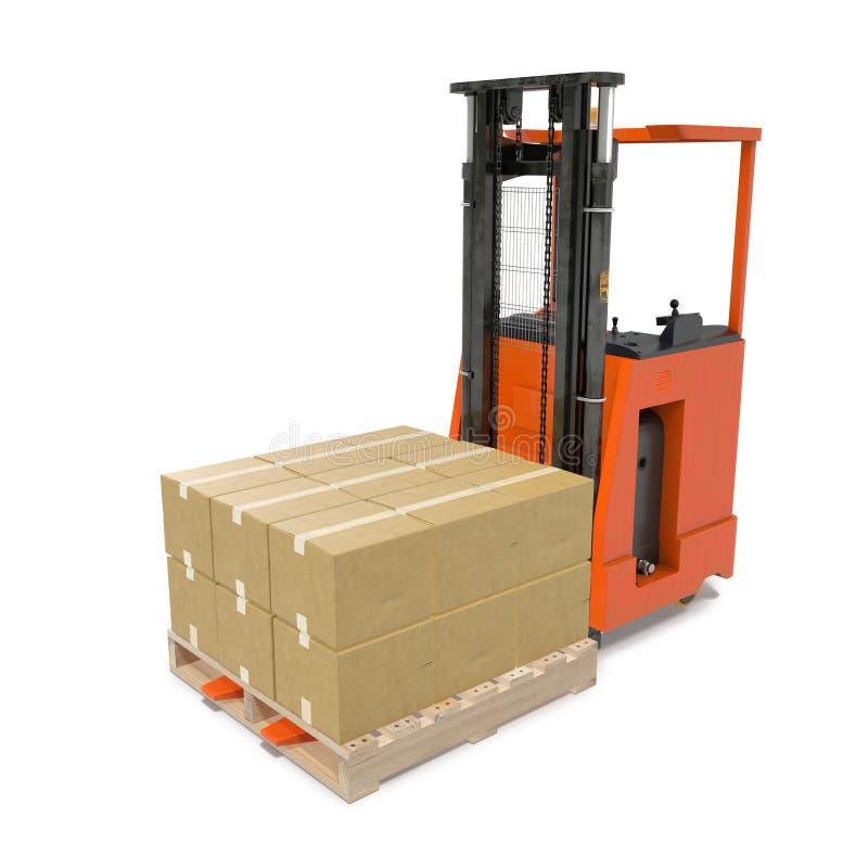 Caminhão de empilhadeira moderno com as caixas na pálete de madeira isolada no branco ilustração 3D ilustração do vetor