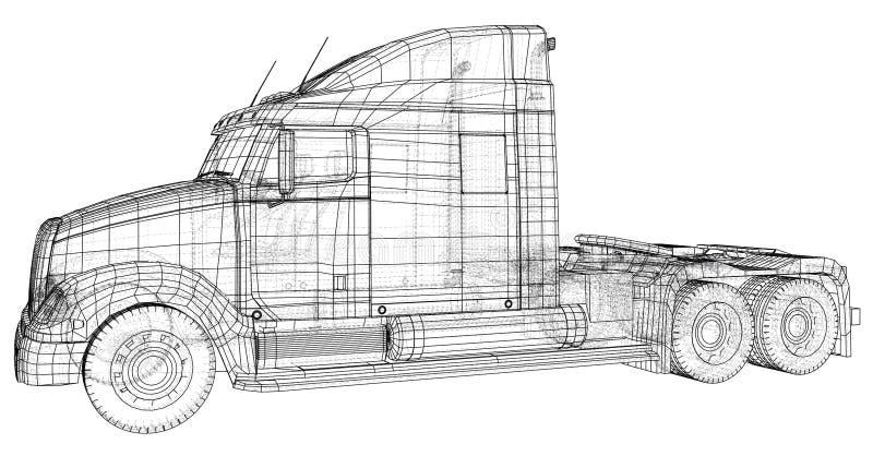 Caminhão de entrega comercial da carga Isolado Ilustração criada de 3d Fio-quadro ilustração stock