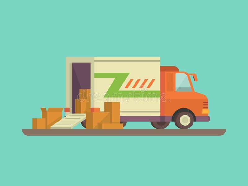 Caminhão de entrega de descarregamento ou de carregamento ilustração stock