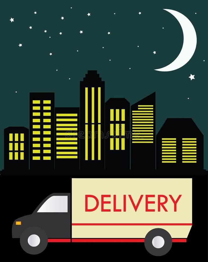 Caminhão de entrega em um fundo da cidade na noite ilustração stock