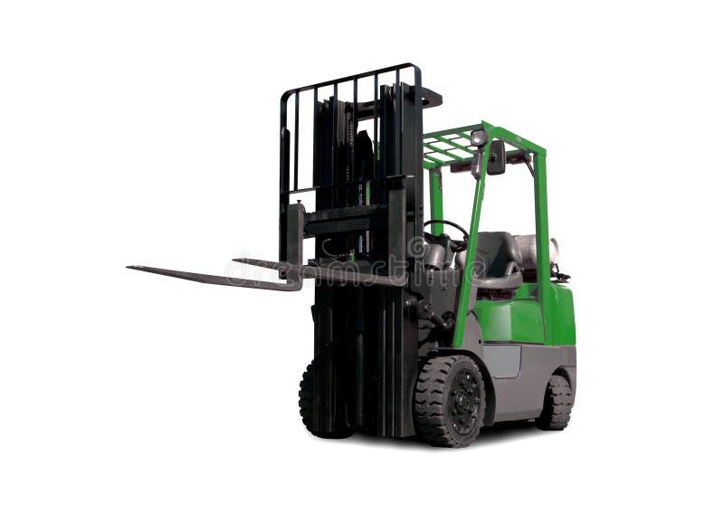 Caminhão de Fork-Lift verde imagens de stock royalty free