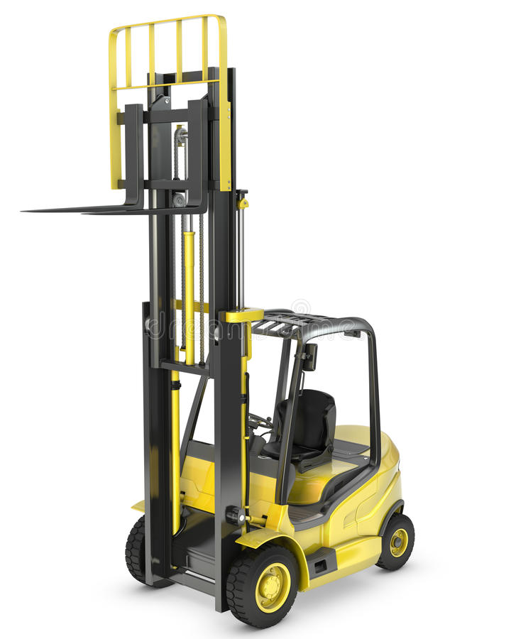 Caminhão de forklift amarelo com forquilha levantada fotografia de stock