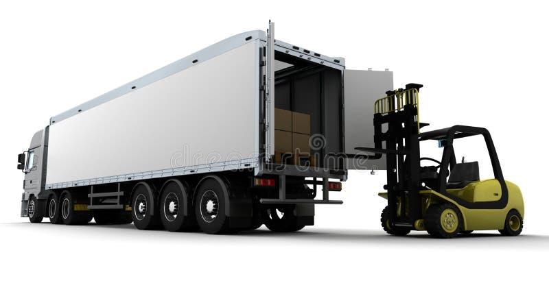 Caminhão de forklift amarelo isolado no branco ilustração stock