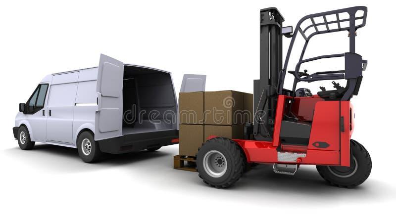 Caminhão de Forklift que carrega uma camionete ilustração royalty free