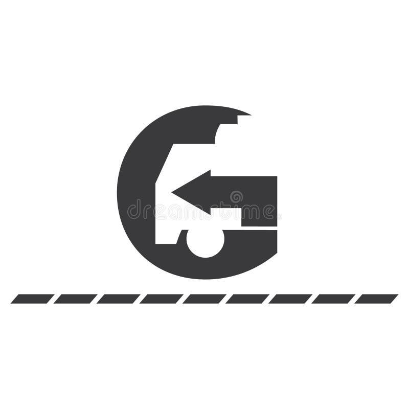 Caminhão de g da letra do ícone da ilustração e espaço negativo da seta - ícone preto isolado vetor ilustração do vetor