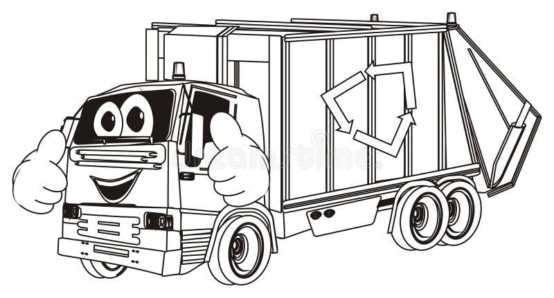 Caminhão de lixo colorindo feliz com gesto ilustração do vetor