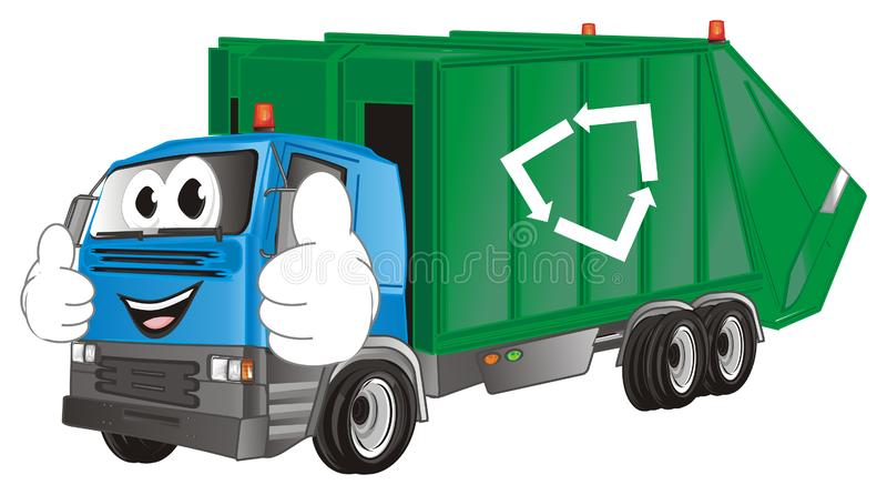 Caminhão de lixo engraçado com gesto ilustração do vetor