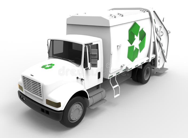 Caminhão de lixo no branco com sombras ilustração royalty free