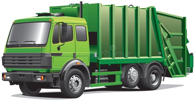 Caminhão de lixo verde ilustração royalty free