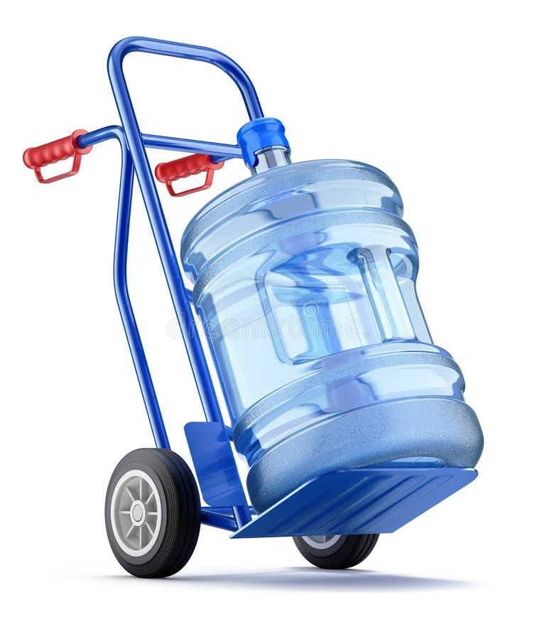 Caminhão de mão com garrafa do distribuidor ilustração do vetor