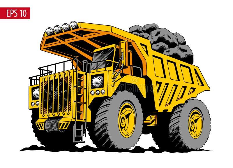 Caminhão de mineração ou descarregador amarelo pesado grande Ilustração do vetor ilustração do vetor