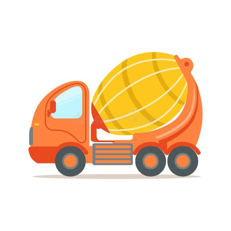 Caminhão de mistura concreto alaranjado Ilustração colorida do vetor dos desenhos animados do equipamento da maquinaria de constr ilustração stock