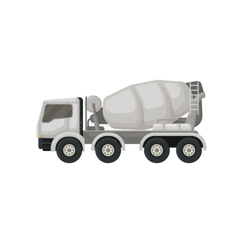 Caminhão de mistura concreto Máquina com o recipiente de giro para transportar o cimento Grande veículo usando-se na construção ilustração do vetor