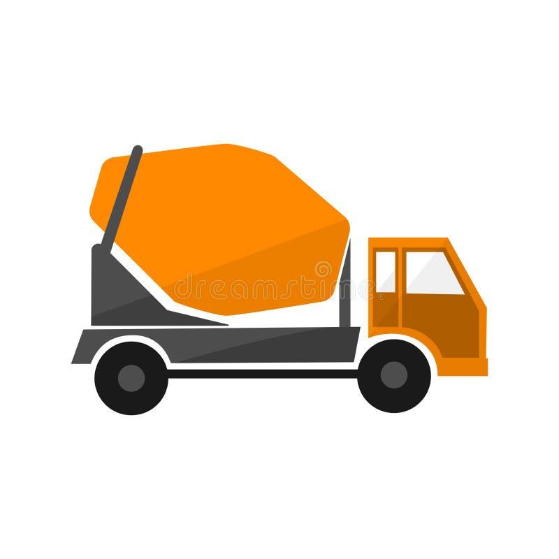 Caminhão de mistura concreto Projeto liso Transporte industrial Máquina da construção Caminhão alaranjado com misturador ilustração do vetor