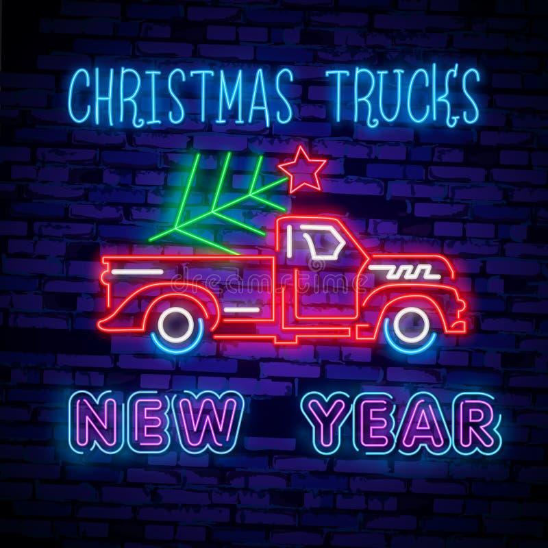 Caminhão de néon do Natal Caminhão vermelho do Natal da ilustração do vintage com uma árvore de Natal Cartão de néon retro ilustração royalty free
