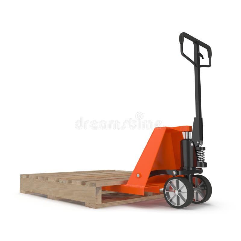 Caminhão de pálete com a pálete de madeira na ilustração 3D branca ilustração royalty free