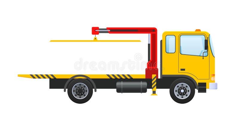 Caminhão de reboque com o manipulador hidráulico equipado, guindaste de levantamento com plataforma ilustração stock