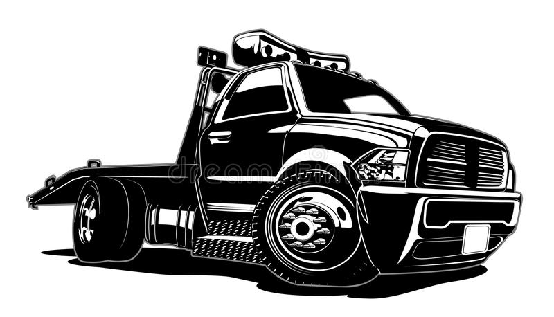Caminhão de reboque dos desenhos animados isolado no fundo branco ilustração stock