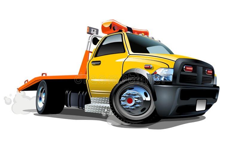 Caminhão de reboque dos desenhos animados isolado no fundo branco ilustração do vetor
